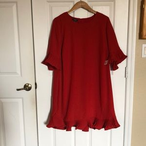 Alfani red dress with ruffle sleeves and hem